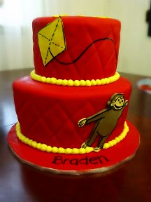 Red Curious George cake